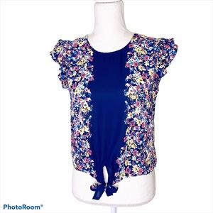 Twine & String Floral Tie Front Blouse